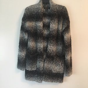 Rachel Zoe Alpaca Wool Long Cardigan Black Gray